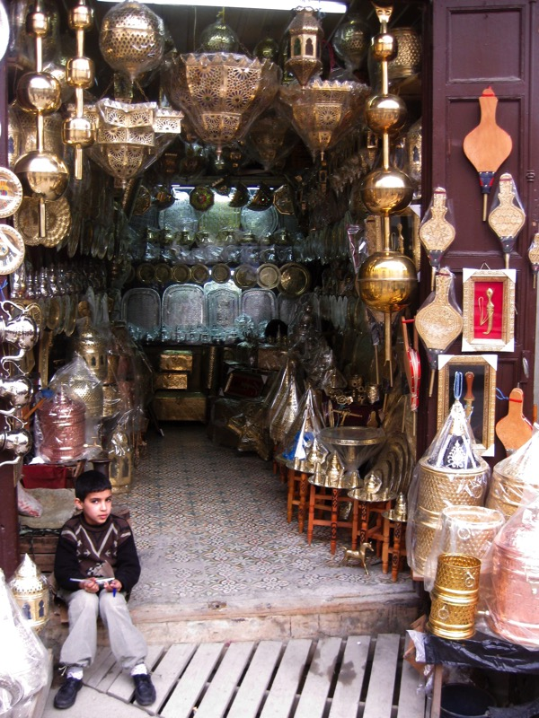 Copper wares shop in Fez Morocco
